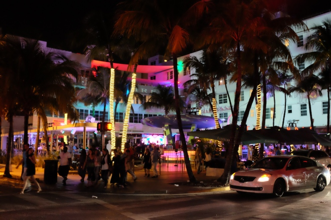The Clevelander shines at night.