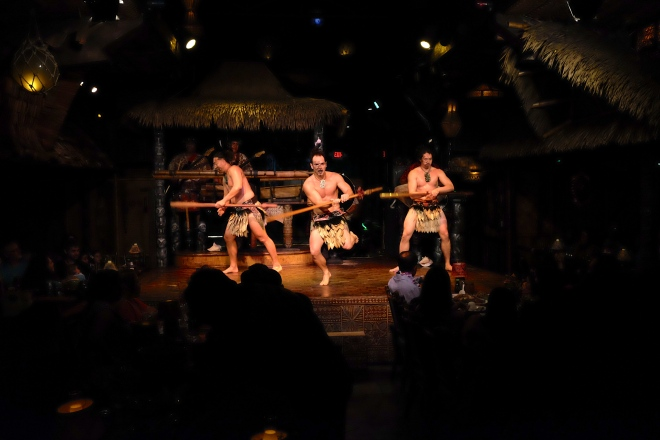 A warrior dance. The guy in the middle was really intense. He clearly loves his job.